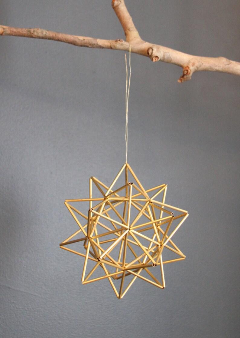 Brass Pollen ball mobile  Scandinavian himmeli sculpture  image 0