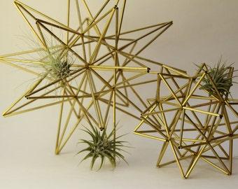 """Brass Moravian Star and Pollen Ball Set - 2 Scandinavian sculptures - 11"""" sphere (28 cm) - 6.25"""" sphere (16cm)"""