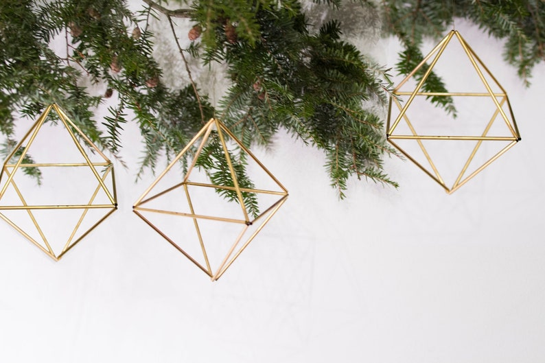 Set of 3 Cube Ornaments   in Brass Silver or Matte Black image 0