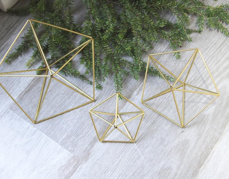 Set of 3 Inverted stars  geometric ornaments  himmeli image 0