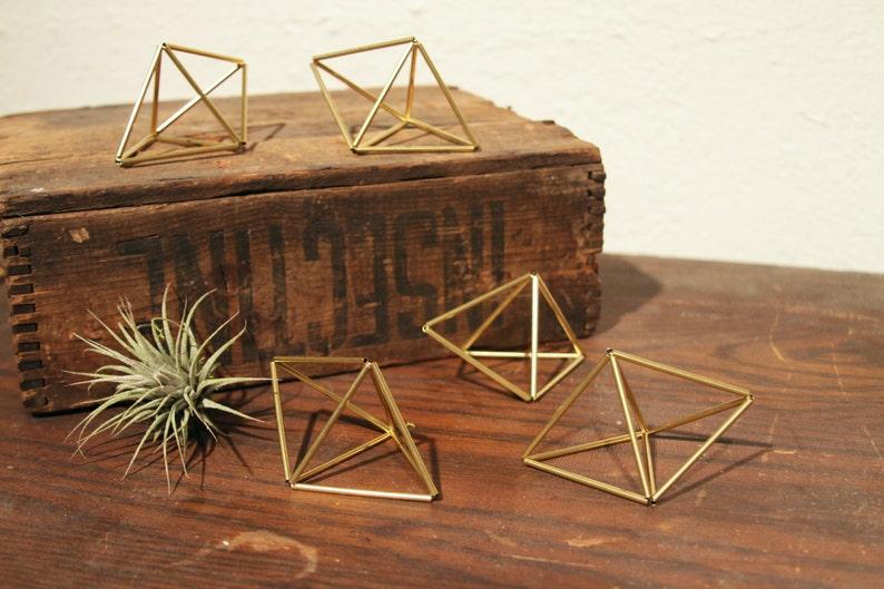 Set of 5 mini Double Pyramid Ornaments / Air Planter image 0