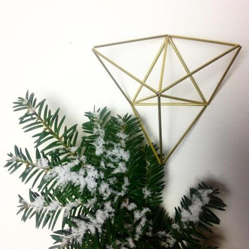 Three Triangles  Geometric air plant wall hanger  Brass image 0