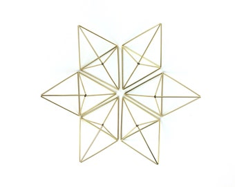 Set of 6 geometric Ornaments - Double pyramid