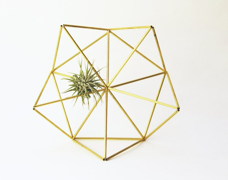 Mother Star  Geometric air plant wall hanger  Brass Planter image 0