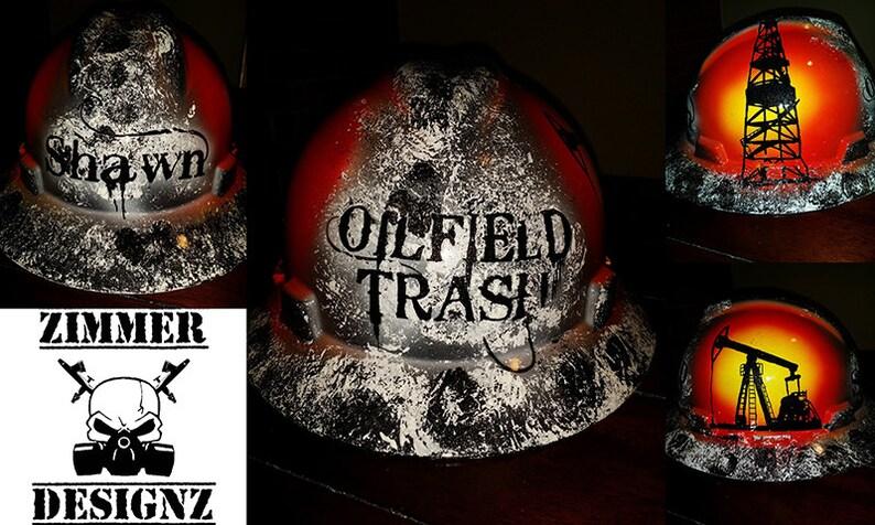 6d3653a14 Custom Painted Oilfield Trash Hard Hat