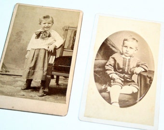 Small Antique Children Cabinet Card Photograph Lot - Mixed Media, Altered Art, Collage, Assemblage Supplies