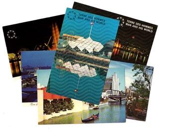 6 Vintage Montreal Canada Terre Des Hommes Chrome Unused Postcards Blank - Wedding Guestbook, Reception Decor, Travel Journal Supplies