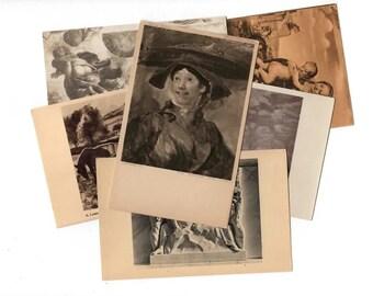 50 Vintage Black and White Artwork Unused Postcards Blank - Unique Museum Art Wedding Guestbook, Reception Decor, Art Journal Supplies