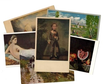 25 Vintage Artwork Unused Postcards Blank - Unique Museum Art Wedding Guestbook, Reception Decor, Art Journal Supplies