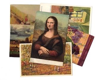 100 Vintage Artwork Unused Postcards Blank - Unique Museum Art Wedding Guestbook, Reception Decor, Art Journal Supplies