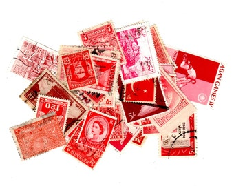 40 Red International Postage Stamps