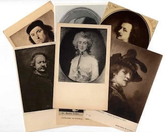 25 Vintage Black and White Art Portraits Unused Postcards Blank - Unique Museum Art Wedding Guestbook, Reception Decor, Art Journal Supplies