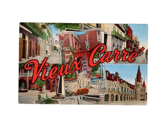 New orleans postcard etsy greetings from vieux carre new orleans vintage french quarter postcard m4hsunfo