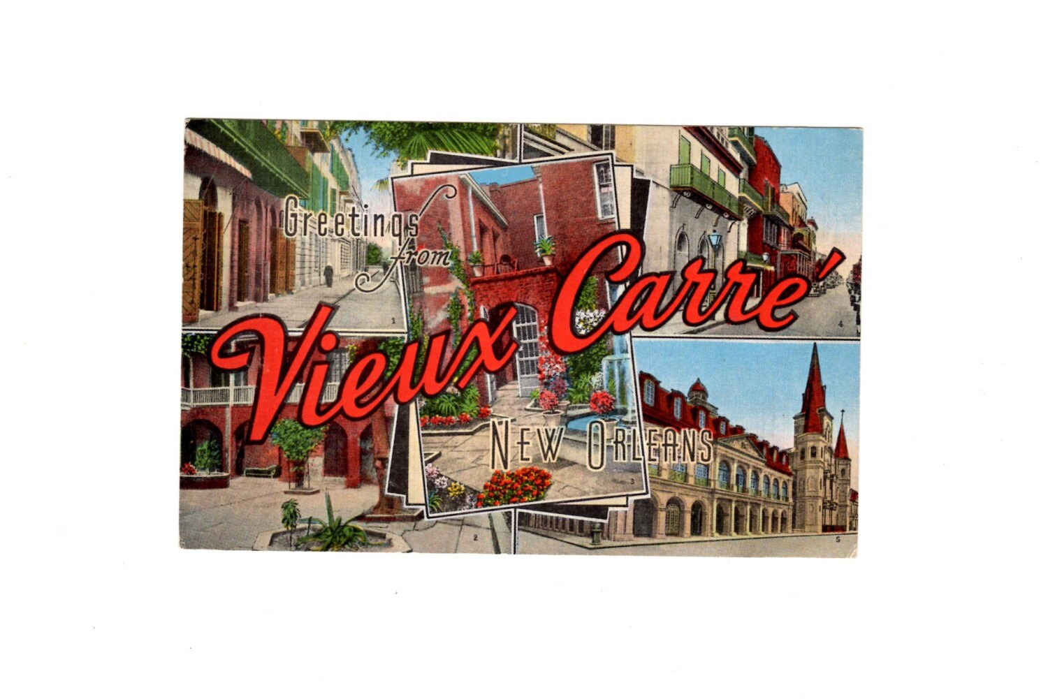 Greetings From Vieux Carre New Orleans Vintage French Quarter Etsy