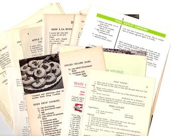25 Vintage Cookbook Pages - 25 Piece Grab Bag Kit - Vintage Ephemera Collage Kit