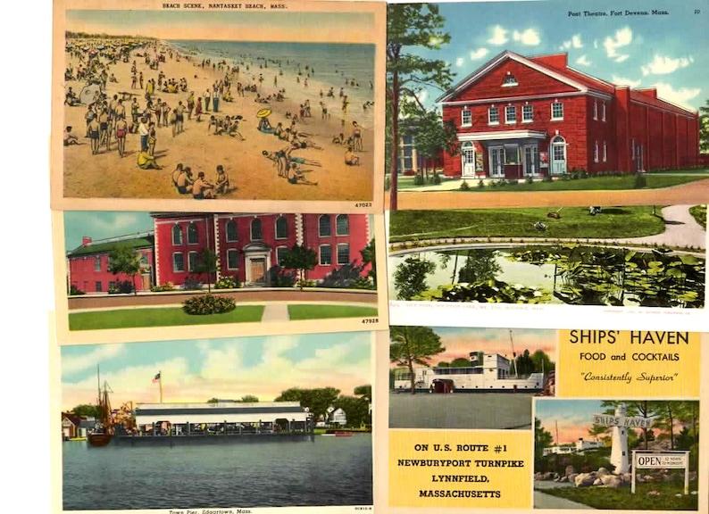 Unique Travel Themed Wedding Guestbook 25 Vintage Massachusetts Postcards Blank Reception Decor Travel Journal Supplies