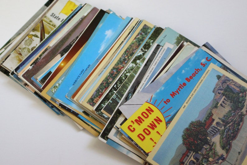 Reception Decor Travel Themed Wedding Guestbook Mix of Chrome and Linen Journal Supplies 150 Vintage United States Postcards Blank