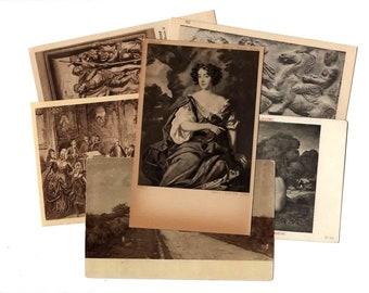 25 Vintage Black and White Artwork Unused Postcards Blank - Unique Museum Art Wedding Guestbook, Reception Decor, Art Journal Supplies