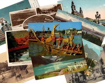 SALE 25 Vintage Used International Postcards, Vintage Ephemera, Collage, Altered Art, Mixed Media, Scrapbooking, Travel Journal Supplies