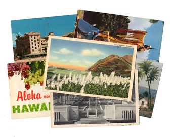SALE - 15 Vintage Hawaii Postcards - DAMAGED- Collage, Mixed Media, Scrapbooking, Assemblage, Paper Craft, Art Journal Supplies