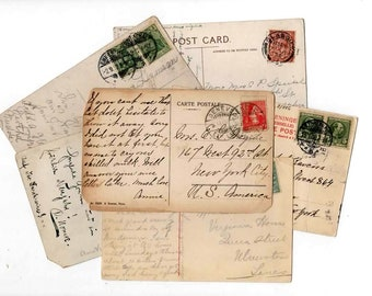 EUROPE Postcard Craft Pack DAMAGED - 20 Postmarked, Stamped and Written on Postcards, Vintage Travel, Collage Craft Supplies