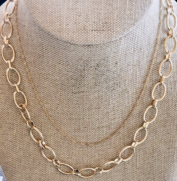 gold chain link necklace, medium gold link chain n