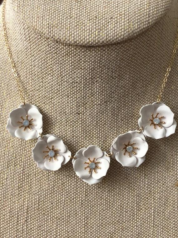 Statement Necklace White Flower Necklace White Statement Etsy