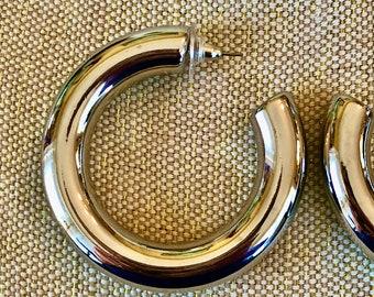"""Big 2"""" thick silver hoops, silver hoop earrings, chunky silver hoops, chubby silver hoops, silver tube hoops, big silver tire hoop"""