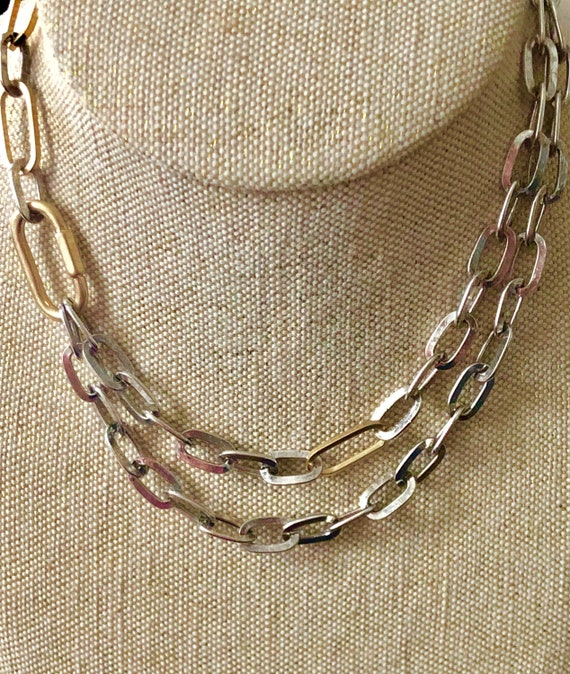 Silver statement necklace, Carabiner necklace, sil