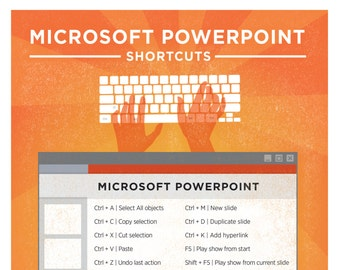"Microsoft Powerpoint PC Keyboard Shortcut Printable Poster 8.5""x11"""