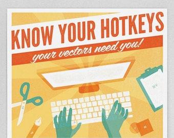 "Adobe Illustrator Keyboard Shortcut Graphic Design Printable Poster 13""x19"""