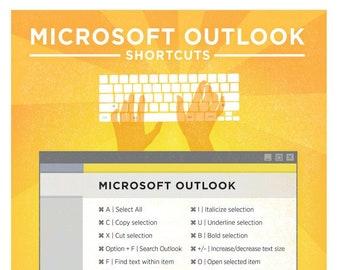 "Microsoft Outlook Keyboard Shortcut Printable Poster 8.5""x11"""