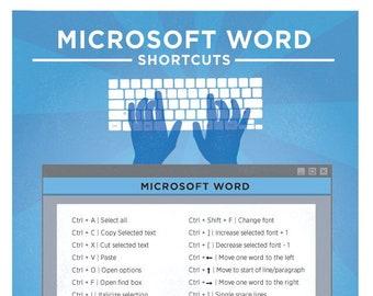 "Microsoft Word Keyboard Shortcut Printable Poster 8.5""x11"""