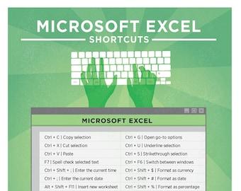 "Microsoft Excel PC Keyboard Shortcut Printable Poster 8.5""x11"""