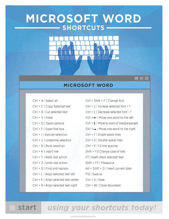 microsoft word mac keyboard shortcut printable poster etsy