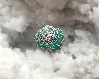 """Mini Constellation Rose 3/4"""" Hard Enamel Pin (Rose Gold & Teal)"""