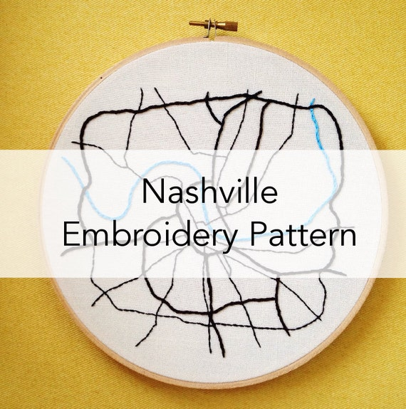 Nashville Map Embroidery Pattern Etsy