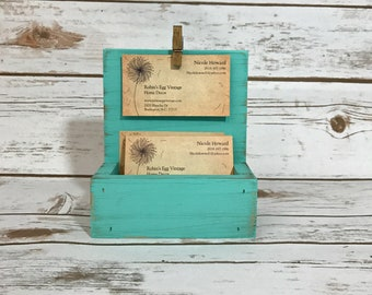 Farmhouse Business Card Holder//Shabby Chic Business Card Display//French Country Decor//Turquoise//Available in a Variety of Colors