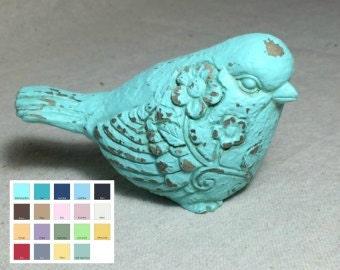 turquoise bird bird figurine beach decor home decor island decor Bird decor figurine office decor bird on branch shelve decor