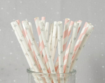 Twinkle Twinkle Little Star Girl Paper Straws - Silver Star Straws - Set of 25