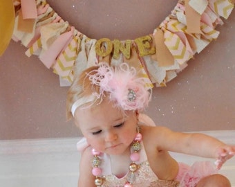 Pink and Gold Birthday Banner - Pink and Gold Girl's Birthday Party - Rag Banner - Photography Prop