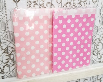 Pink Polka Dot Treat Bags - Set of 25 - Pink Treat Bags - Paper Treat Bags - Party Favor - Girls Birthday Party