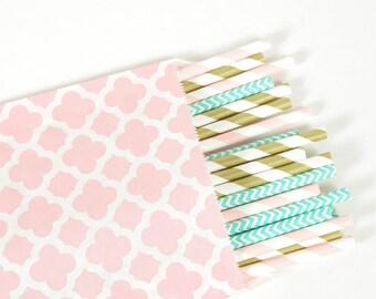 Pink Quatrefoil Treat Bags - Set of 25 - Paper Treat Bags - Party Favor