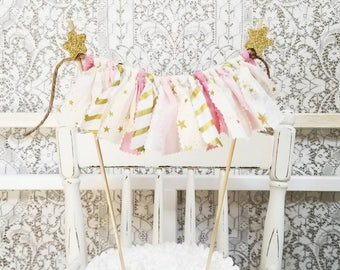 Twinkle Twinkle Little Star Cake Topper - Rag Banner Cake Topper - Pink and Gold Birthday - Girl's Birthday Party - First Birthday Party