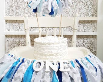 Gray Chevron and Blue Highchair Banner - Boy's Birthday Party - Boy's First Birthday - Garland - Bunting - Photoshoot Prop