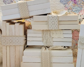 Farmhouse Book Decor - Rustic Book Stack with Lace and Linen - Mother's Day Gift - Paper Book Set - Shabby Chic