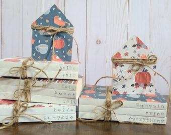 Pumpkin Spice Tiered Tray Decor Stamped Books - Fall Stamped Books Decor - Farmhouse Books - Tiered Tray Decor