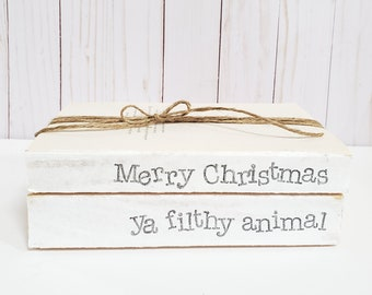 Merry Christmas, ya flithy animal Stamped Books - Christmas Winter Tiered Tray Decor - Farmhouse Stamped Books