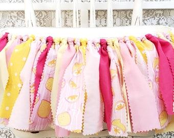 Pink Lemonade Highchair Banner - Lemonade Stand Girl's Birthday Party - Rag Banner - Photography Prop - First Birthday - Golden Birthday