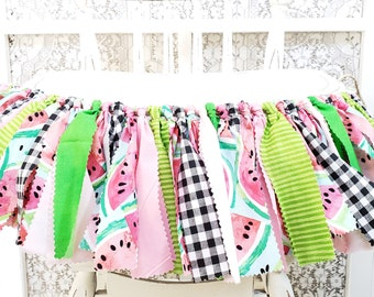WATERMELON Birthday Highchair Banner Picnic Birthday Party Sweet Celebration Girl's Birthday Party Rag Banner Photography Prop Smash Cake